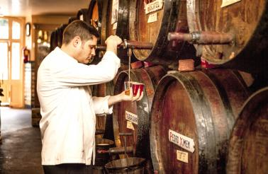 The sweet, fortified wines Málaga that is known for are aged in oak barrels. At Antigua Casa de Guardia, the wine is tapped directly from the barrel.