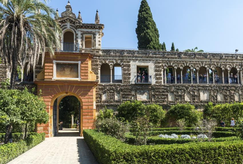 The gardens of the Real Alcazar of Seville.